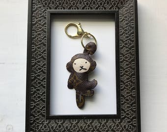 plush MONKEY unicorn bag charm keyring upcycled  Louis Vuitton monogram GUCCI Mini lin OOAK