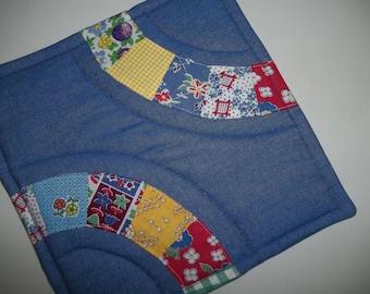Blue Denim Pot Holder ~ Vintage Quilt Pot Holder ~ Patchwork Pot Holder ~ Hot Pad ~ Trivet~ Retro Pot Holder