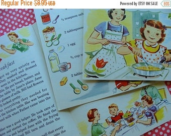 ONSALE Vintage 1950s Kitsch Baking Recipes Dick and Jane Type Graphics National Dairy Council Primer Booklet Unused Mint Condition