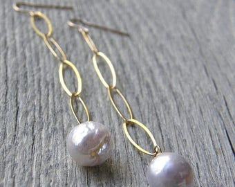 Summer Sale 20% Off Long Large Pearl Drop and Gold Chain Earrings, Bridal Earrings