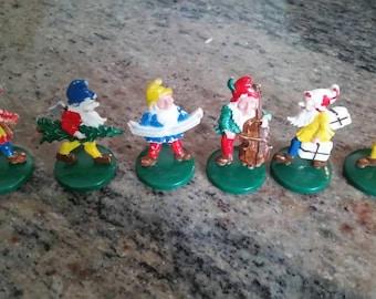 """Vintage lot of 6 gnomes, dwarfs,  cottage,  men, plastic, 2"""" miniatures, musicians"""