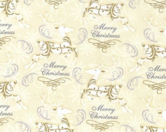 Gold Metallic Prancing Reindeer Premium Cotton Christmas Fabric by the yard and by the half yard