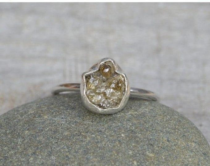 Summer Sale Rough Diamond Engagement Ring, Raw Diamond Ring, 2ct Rough Diamond Ring, Organic Raindrop Shape Diamond Ring, Handmade In Englan
