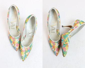 60s Shoes Pump Size 6 / 1960s Vintage Embroidered Lace Stilettos / Garden Party Heels