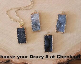 Sugar Druzy Necklace, Gray Crystal, Druzy Pendant, Black Crystal Necklace, Gold Filled, Layer Necklace