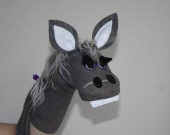 Handmade Gray Donkey or Horse  Sock Puppet