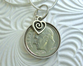 """21st Birthday or Anniversary-1996 US Dime Pendant and Necklace-20"""" Sterling Silver Chain-Coin Jewelry"""