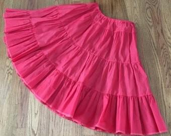 Vintage 1950's Ruby Red Ruffled Crinoline Petticoat Slip Size Small Medium
