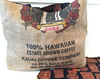 Burlap Coffee Sack Tote / Beach Bag/ Market Bag/ Kauai Coffee Company