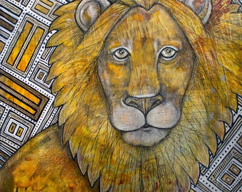 Original Lion / Leo / Big Cat Artwork by Lynnette Shelley
