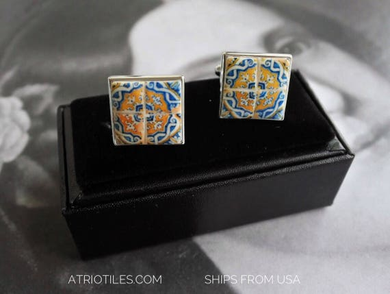 CUFF LINKS SiLVER 925 Portugal Azulejo Tile Replica Barcelos Blue Gold  (see actual Facade photo)  Gift Box Included Ships from USA 655
