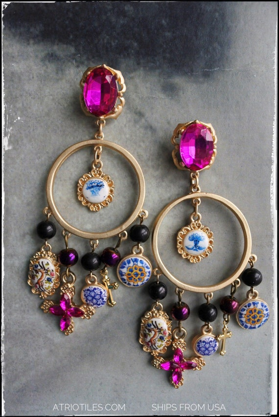 Earrings Portugal Antique Azulejo Tile Chandelier Earrings Baroque Majolica Bohemian Indian Designer Runway Cross Woman Fuchsia