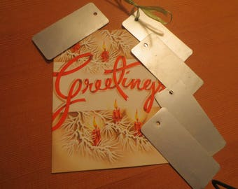 Vintage Mid Century Tags / Silver paper gift tags / Garden Plant Labels / Gift Tags / Store Tags / Set of 20 / Holes for Ribbon