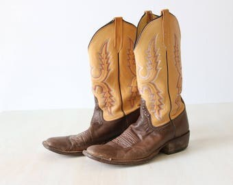 Rios of Mercedes Men's Boots Size 9B Cowboy Boots Brown Tan