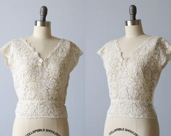 1950s White All Lace Blouse / Wedding Lace Blouse Top / Size Small S