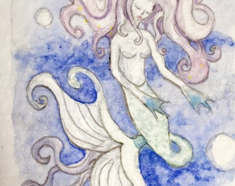 Sighing Lavender Mermaid ACEO Trading card original art trading card
