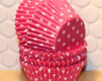 Brite Pink Polka Dot Cupcake Liners  (Qty 45 )  Brite Pink Polka Dot Baking Cups, Pink Cupcake Liners, Pink Baking Cups, Pink Muffin Cups