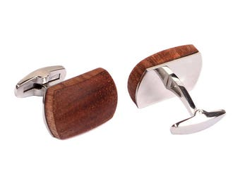African Bubinga Wood and Stainless Steel Mens Cufflinks Stainless Steel Cufflinks Wood Cufflinks with Jewelry Gift Box