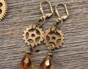 Steampunk Style Earrings -  Brass Watch Gears - November Birthday - Industrial Style - Brass and Citrine Beaded Steampunk Dangle Earrings