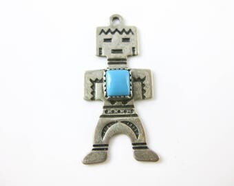 Charm, Kachina Doll, Vintage, Southwestern, Native American, Deity Dance, Turquoise