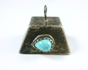 Vintage Sterling Silver Turquoise Bell Charm Pendant