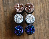 Choose Color and Size  6g (4mm), 2g (6mm)4g (5mm)   Faux Druzy Rough Crystal Plugs Rose Gold Silver  Purple Blue Gauges for stretched lobes