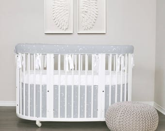 Stokke Bedding // GOTS Certified Organic  100% // Crib bedding  // Oval bedding // Italian Oeko-Tex trim in 30 colors // RTS in  2-3 weeks