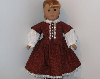 """Burnt Orange Civil War Dress with Pantaloons, Fits 18"""" Dolls // AG Doll Clothes, AG Doll, American Girl Dress, Historical, Period"""