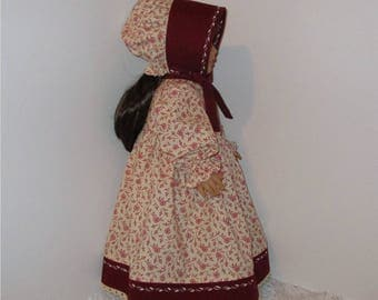"""Burgundy and Cream Prairie Dress with Bonnet, Fits 18"""" Dolls // AG Doll Clothes, AG Doll Dress, American Girl Dress, Historical, Period"""