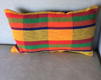 Small Striped Handwoven Cotton Throw Pillow. A Rainbow of Colors