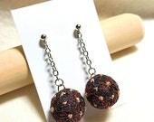 Teenie Temari Earrings (pierced) - AsaNoHa, Red on Black