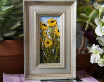 "Sunflowers #2 - Framed 2""x4"" Original Sunflower Oil Painting by Megan Gray Arts"