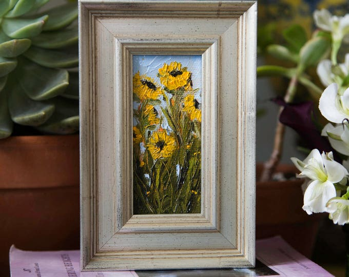 """Featured listing image: Sunflowers #2 - Framed 2""""x4"""" Original Sunflower Oil Painting by Megan Gray Arts"""