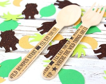 Where the Wild Things are Wooden Utensils - Set of 24 (12 Forks and 12 Spoons)