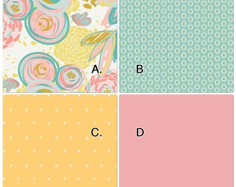 Baby Bedding Crib Set Pink Yellow Gold Mint Teal Floral