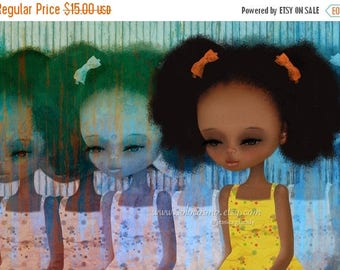 "50% Off SALE African American Little Girl - 8x10 or 8.5x11 Medium Sized  Fine Art Print - ""Deja-Vu""  - Yellow and Blue - Giclee Print"