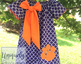 Team spirit Dress, ALL colors available, dress, tigers, orange and purple, College Football, Game Day dress, Girls Dresses, clemson Dress