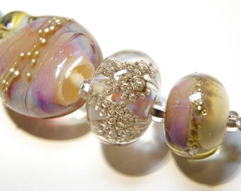 Coordinating Set of Five (5) Lampwork Borosilicate Beads: Pinks, Purple, Turquois Blue, Champagne -- Lot 3N