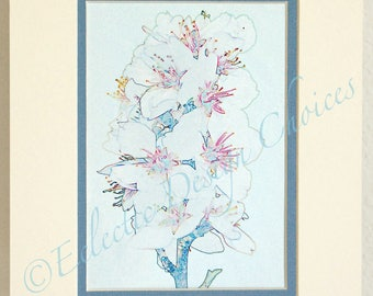 Almond Blossoms Altered Photo Matted Print, Your Choice, Floral Photographic Art, Almond Blossom Home Decor, Spring Blossoms Wall Art
