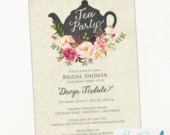 Tea Party Bridal Shower Invitation | Bridal Shower Tea Party Invitation | Shabby Chic Tea Party Invitation | Printable Invitation