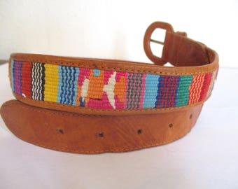Vintage Woven Guatemalan Belt Southwestern Tribal Belt Colorful Ethnic Leather Belt Size 28 Small Woven Fabric