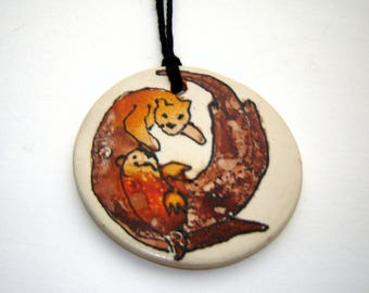Otter Ornament – Alcohol Ink Painting – Fine Art Ceramics – Swimming Otters – Handmade Pottery – Animal Art –Home Décor- Watercolor Inspired