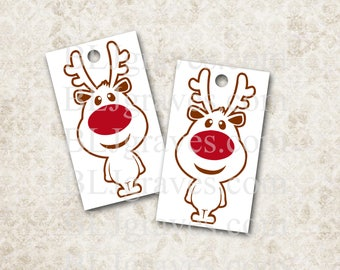 Christmas Gift Tags Reindeer Rudolph Vintage Style Party Favor House Warming Treat Bag Tags Handmade TC058