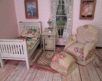 "Vintage Dollhouse Furniture - Boudior Chair and Ottoman - Upholstered in Rose Print Chintz - 1930's or 1940's - 1"" Scale"