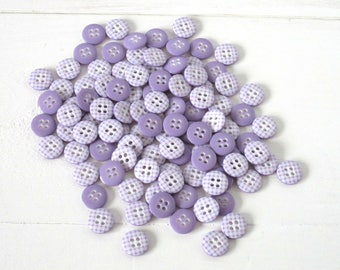 Lilac Gingham Buttons / Lavender Plaid / Cute Sewing Buttons / Craft Buttons / Scrapbooking Buttons / Knitting Buttons / Lilac Button Pack