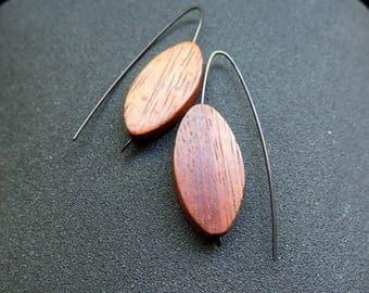 niobium earrings in teak wood. hypoallergenic jewelry. modern jewellery. made in Canada