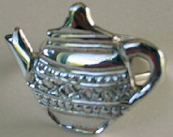 Silverplate Napkin Ring Holders Teapot  BOXED SET OF 4