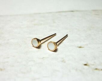 Tiny Round Stud Earrings, Dainty Dot Earrings