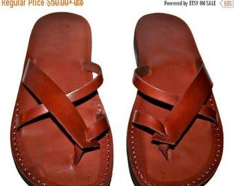 15% OFF Brown Tropide Leather Sandals For Men & Women - Handmade Unisex Sandals, Flip Flop Sandals, Jesus Sandals, Genuine Leather Sandals