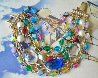 Chain bracelet designed with recycled pieces- Vintage clasp - Multi color Glass beads - Goldtone chains - One of a Kind - bycat